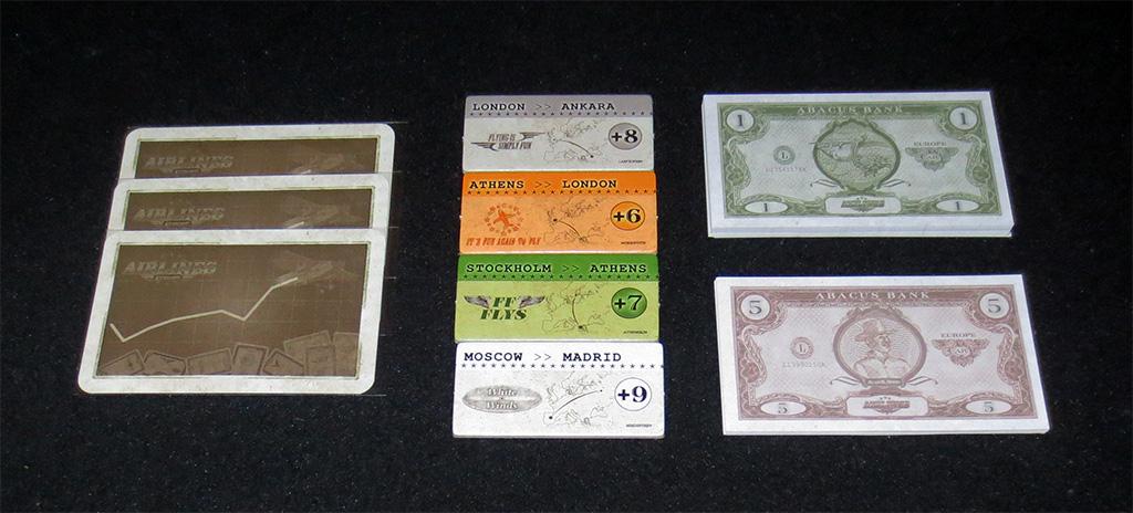 Cartas de Puntuación, Bonus y Billetes