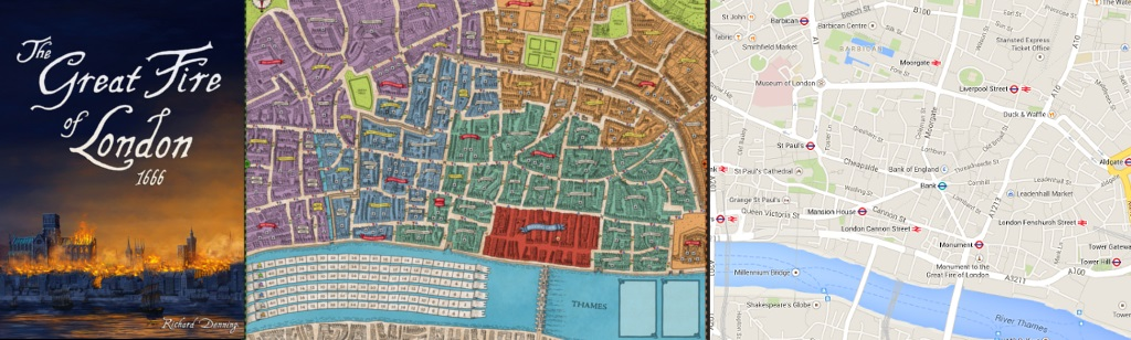 Portada y Tablero de The Great Fire of London, 1666 - Mapa de Londres