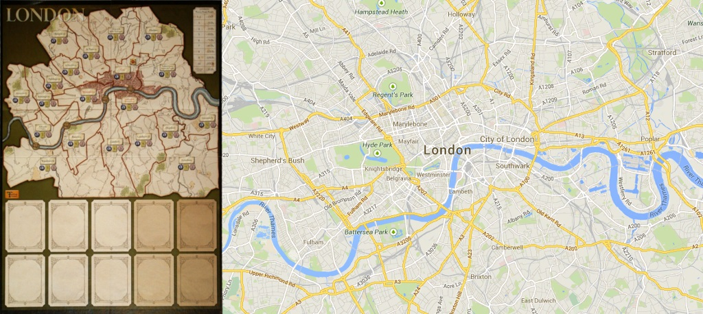 Tablero de London - Mapa de Londres