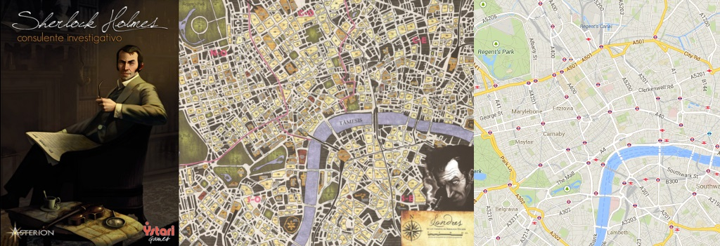 Portada y Mapa de Sherlock, Detective Asesor - Mapa de Londres