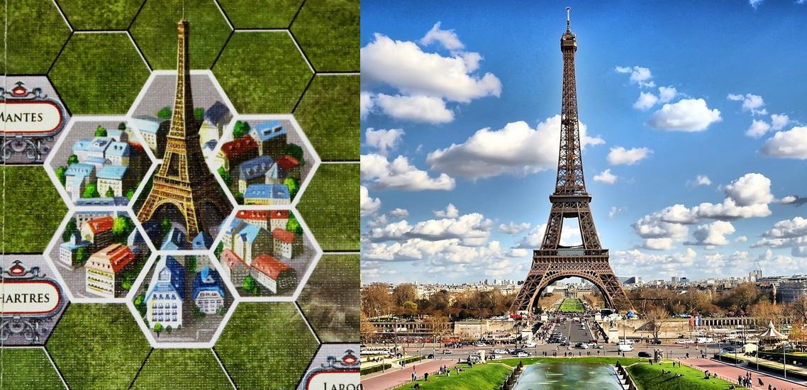 Casillas de París en Paris Connection - Vista lejana de la Torre Eiffel