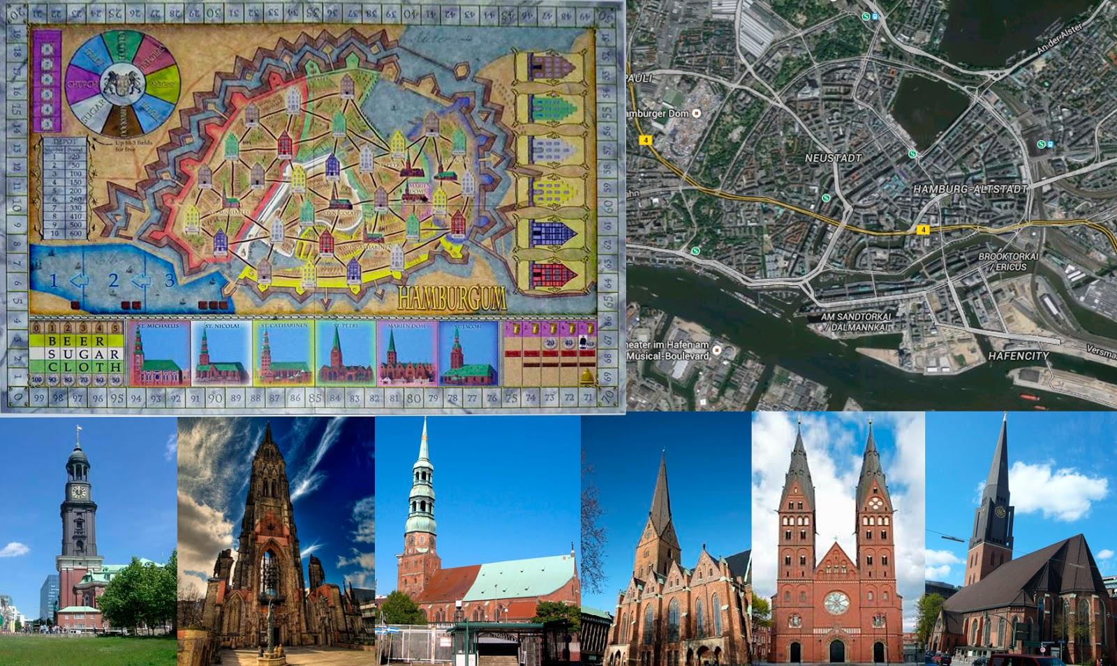 Tablero de Hamburgum - Mapa de Hamburgo - Iglesia de San Miguel - Iglesia de San Nicolás - Iglesia de Santa Catalina - Iglesia de San Pedro - Catedral Santa María - Iglesia de San Jacobo