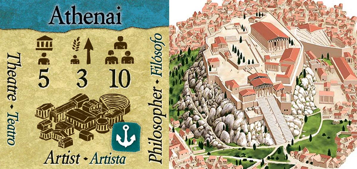 Loseta de Atenas en Polis - Representación del Acrópolis